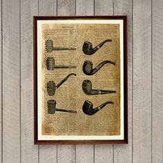 Smoking pipes poster Manly decor Dictionary print by wordantique, $18.00