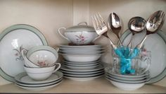 Vintage Noritake China and torqoise serving wear