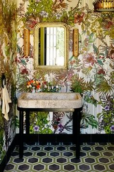 Love this powder room! An Old Sonoma Adobe Gets a New Life with the Help of Designer Ken Fulk Tropical Bathroom, Tropical Decor, Bathroom Inspiration, Design Inspiration, Ken Fulk, Budget Bathroom, Bathroom Storage, Interior Decorating, Interior Design