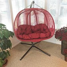Flowerhouse Pumpkin Double Swing Chair with Stand Color: Red Wicker Swing, Egg Swing Chair, Hanging Swing Chair, Hammock Swing Chair, Outdoor Hammock, Hammock Stand, Swinging Chair, Swing Chairs, High Chairs