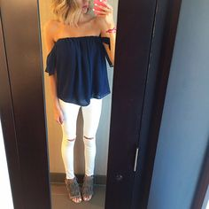 Off-the-shoulder top and white denim plus fringe heels