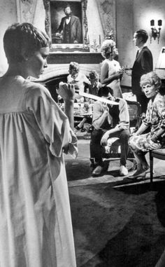 """Mia Farrow in """"Rosemary's Baby"""" directed by Roman Polanski. One little woman against a room full of, you know whats! Creepy Movies, Horror Movies, American Horror Movie, Rosemary's Baby, Mia Farrow, Roman Polanski, Cult, Halloween Movies, About Time Movie"""