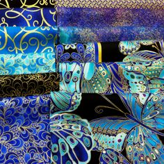 Shimmer! Peacock Fabric, Quilt Material, Butterflies, Fabrics, Glitter, Quilts, Cool Stuff, Artwork, Inspiration