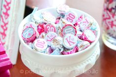 What an inexpensive idea to add a little tag to the bottom of hershey kisses.