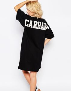 Carhartt Basic T-Shirt Dress With Back Logo Detail at asos.com