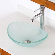 Elite Unique Oval Frosted Tempered Glass Bathroom Vessel Sink With Faucet Combo