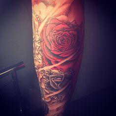 #rose #rosetattoo #flower #flowertattoo #colourtattoo #leg #legtattoo #calf #calftattoo #tattoo #tattoos #ink #jongu #tattooist #auckland #forevertattoos IG: @jongutattoo