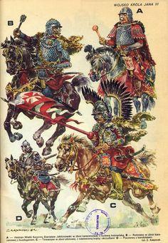 A-- Hetman Wielki Koronny Stanisław Jabłonowski w zbroi karacenowej, z buławą hetmańską, B-- Rotmistrz w zbroi karacenowej z buzdyganem, C-- Towarzysz w zbroi płytowej, z nastawioną kopią i skrzydłami, D-- Pocztowe z bandoletem, (rys. Z. Kasprzak)
