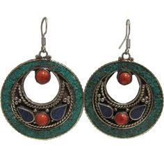 "Bohemian Gypsy Indian Vintage Tibetan Coral Turquoise Lapis Lazuli Silver-Tone Naga Tribal Earrings #27. Approximate length 2.5"", diameter 1.75"". French Hook Style, Mandala Half Moon Dangling Earrings. Features coral, turquoise, lapis lazuli, and silver-tone metal inlay. Lightweight, Good as Gifts; Made in India."
