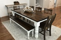 7 L x 37 W x 30 H Baluster Table with a traditional tabletop stained Dark Walnut with an Ivory painted base. Pictured with a Dianne Bench and Henry Dining Chairs. Narrow Dining Tables, Rustic Dining Chairs, Small Dining, Painted Dining Room Table, Dinning Table Design, Round Dining, Wood Table, Rustic Furniture, Modern Furniture