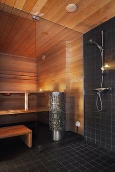 On the off chance that you need the wellbeing and health advantages of steam without heading off to the spa, at that point you can either purchase a home unit pre manufactured or make your own sauna design. Home Spa Room, Spa Rooms, Sauna Steam Room, Sauna Room, Steam Bath, Sauna Design, Bath Design, Saunas, Homemade Sauna