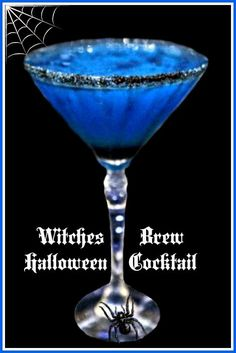 Witches Brew Halloween cocktail... Ingredients: 1 oz Grey Goose Vodka, 1 oz Triple Sec, 1 oz. Blue Curacao, Juice of one Lime, Black Sugar for coating the glass. Instructions: 1. Pour equal portions of the alcohol into a shaker over cracked ice. 2. Shake, then strain into a chilled martini glass that has been rimmed with black sugar.