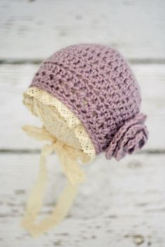 Crochet Newborn Hats for Girls, Infant Bonnet, Newborn Photo Prop, Baby Bonnet, Purple Baby Hats, READY TO SHIP