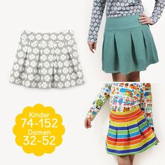 """Retro skirt sewing with pattern pleated skirt """"GISELA"""" for children and ladies - Nähen - Pleated Skirt Pattern, Pleated Midi Skirt, Red Blazer Outfit, Kids Fashion, Fashion Outfits, Adolescents, Sewing For Kids, Sewing Clothes, Cool Style"""