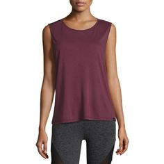 Koral Activewear Aura Strappy-Back Performance Tank ($44) ❤ liked on Polyvore featuring activewear, activewear tops, wine, pullover jersey, purple jersey, koral activewear, purple pullover and sport jerseys