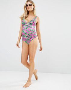 3ec498e5a7 Image 4 of ASOS Maternity Hot Tropic Print Plunge Swimsuit Asos Maternity