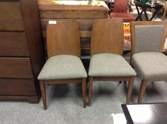 Dining Room Chairs - We have two of these contemporary dining chairs.  Like new. Wood construction with upholstered seat.  Item 21006-44. Price $150.00 each   - http://takeitorleaveit.co/2013/08/28/dining-room-chairs-2/