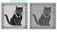 Schema filet uncinetto gratis cuscino con gatto in 120 quadretti - Schemi filet uncinetto da scaricare gratis