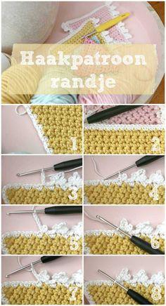 Haakpatroon vlaggetjes haken met randje deel 2 - Jip by Jan Diy Crochet And Knitting, Crochet Wool, Crochet Motifs, Crochet Borders, Crochet Trim, Love Crochet, Crochet Gifts, Crochet Stitches, Crochet Baby