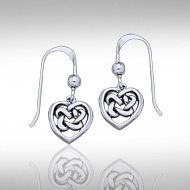 Celtic Knotwork Silver Heart Earrings TE2598 - To speak volumes without saying a word: this is the magic of symbolism. In antiquity, the Celtic Heart was a tasteful outward expression of inner love, passion, and strength, and the Celtic Knot contained within each tiny heart represents the power of eternity.