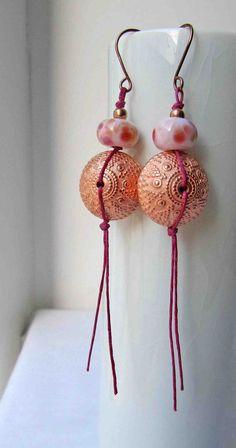 Pink+trails++Handmade+Earrings+Bead+Earrings+by+somethingtodo,+£14.00