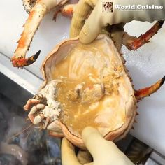 Close-up of the best Korean chef who makes Korean traditional dishes from the king crab weighing 3 Easy Dinner Recipes, Easy Recipes, Easy Meals, Cooking Recipes, Korean Crab Recipe, King Crab Recipe, Crab Recipes, Tasty, Yummy Food