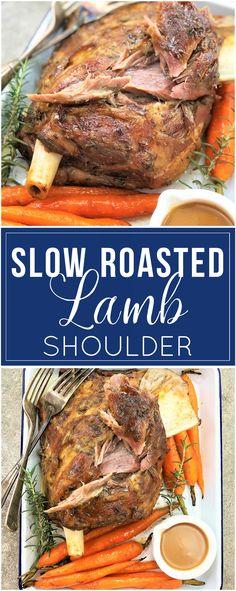 Slow Roasted Lamb Shoulder - juice tender fall-apart lamb | slow roasted | slow cooked | roast lamb | lamb roast | tender lamb | fall off the bone | roasted carrots | gravy | homemade gravy | gravy from scratch | lamb gravy | sunday supper | #sundaysupper | sunday roast