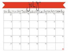 freebie!! july 2014 free printable calendar.