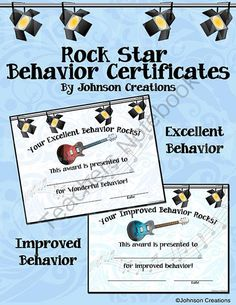 Rock Star Behavior Certificates from Johnson Creations on TeachersNotebook.com -  (4 pages)  - Reward and reinforce excellent and improved behavior with these 2 cool rock themed certificates. Both certificates are 11� x 8 ��. They are great for use by both teachers and principals. Students will love them, and so will their parents!