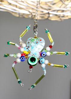 Beaded Spider Décor - Green Eyes Flower Spider / Swarovski Crystal / Art Nouveau