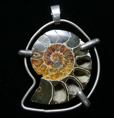 Pendant with Ammonite Fossil set in Sterling Silver