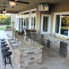 "Acquire fantastic ideas on ""outdoor kitchen designs layout patio"". They are actually on call for you on our web site. Outdoor Kitchen Patio, Outdoor Kitchen Design, Outdoor Rooms, Outdoor Living, Outdoor Bar And Grill, Small Outdoor Kitchens, Outdoor Bar Stools, Outdoor Kitchen Countertops, Outdoor Patios"