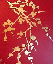 love the gold on red!  Large and Oversize Wall Stencils from Henny Donovan