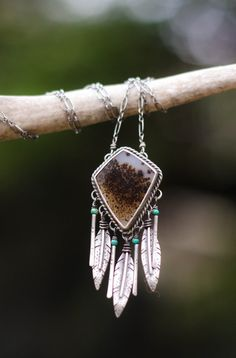 Large Dreamcatcher Necklace. Silver Feather by AppaloosaDesigns
