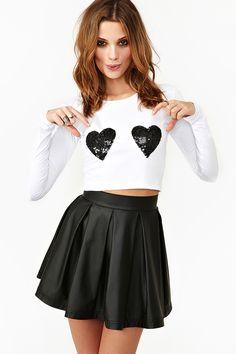 black hearts top w/ mini black skirt