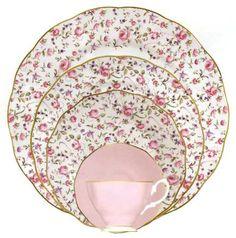 """Rose Confetti"" china pattern from Royal Albert."
