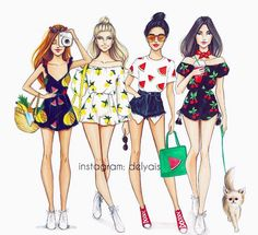 Bananas n pineapples , lemons , watermelons , or cherries ? Which outfit are you?  #Summer #FashionIllustrations @delyais  Be Inspirational ❥ Mz. Manerz: Being well dressed is a beautiful form of confidence, happiness & politeness