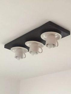 lampara decorativa de tazas para cocina artesanal techo
