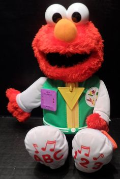 """$19.95/Plush Sesame Street Elmo Talking/Singing """"Get Ready for School"""" Teach & Dress Me Educational Stuffed Animal toy by Hasbro  ~~view more plush toys for youth/kids/children as well as over 575 items of merchandise in 25 categories in my store. I ship globally! www.shellyssweetfinds.com"""