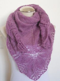 Beautiful knit shawl in light purple, lace shawl, scarf shawlette handmade stole triangle scarf mother's day gift
