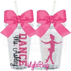 Dance tumbler. For your favorite dancer or dance teacher. Your choice of dance graphic and colors. Personalized acrylic tumbler. LylaBug Designs.