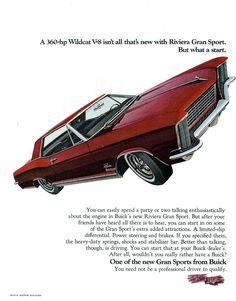 Buick Riviera 1965. I just love the text treatment. The headline. Pure art.