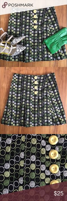 Anthropologie Elevenses Embroidered Wrap Skirt Perfect condition Anthropologie elevenses black wrap skirt with green, yellow and white embroidered circles. Pleated around the bottom. Four yellow buttons at the waist. 100% cotton. Fully lined. I don't know why, but the pattern just reminds me of spools of thread! Very fun! Anthropologie Skirts