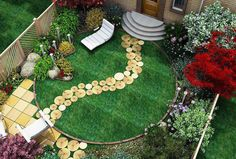 Small and stylish little garden, pathway built with tree trunk rounds
