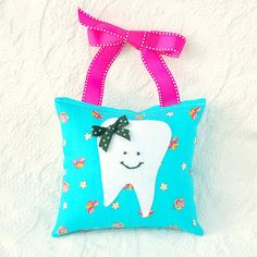 Girls Tooth Fairy Pillow in Turquoise Blue by BoutiqueVintage72, $15.00