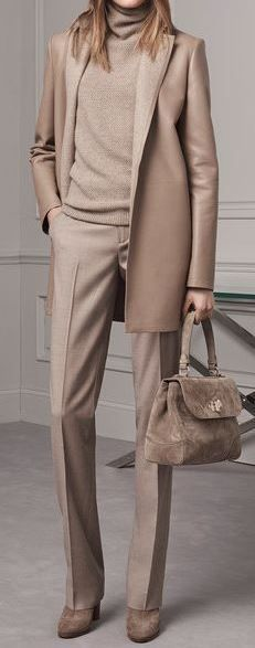all nude everything   bag + boots + sweater + blazer + pants