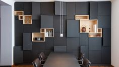 Interior:Some Modern Meeting Room Design Ideas Decorative Meeting Room With Conference Table And Modular Wall Style Office Interior Design, Office Interiors, Modern Interiors, Modern Kitchen Cabinets, Deco Design, Design Design, Design Ideas, New Wall, Interiores Design
