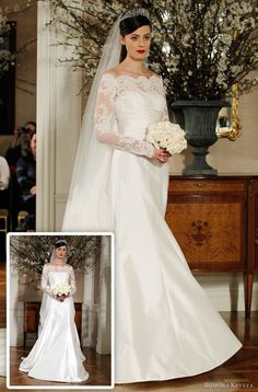 Thanks to the breathtakingly elegant gown choice by Katherine, Duchess of Cambridge (aka Kate Middleton), lace sleeves are making a strong appearance in many designers' 2012 lines. This particular creation, by Romona Keveza, pairs lace sleeves with a slimmer silhouette for a look that's downright royal, but you can be sure the Queen Mum would question that sexy peek of shoulder! ;)