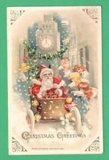 1916 WINSCH CHRISTMAS SANTA CLAUS COMING TO TOWN POSTCARD CAR CHILDREN SNOW