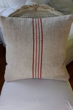 Vintage Grain Sack Pillow Sham Faded Red by maisondemichele